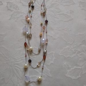 Lia Sophia 3 strands beads pearl necklace